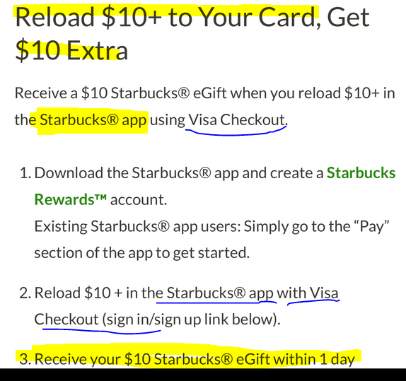 load 10 with visa checkout using starbucks app get 10 egift card