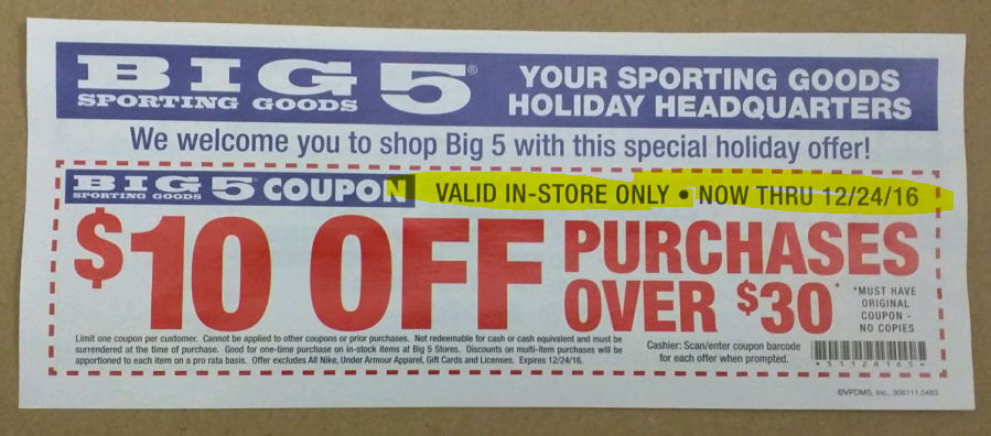 graphic regarding Big 5 $10 Off $30 Printable identified as Valpak coupon: $10 off a $30+ Substantial 5 BM order (exp. 12/24/16)