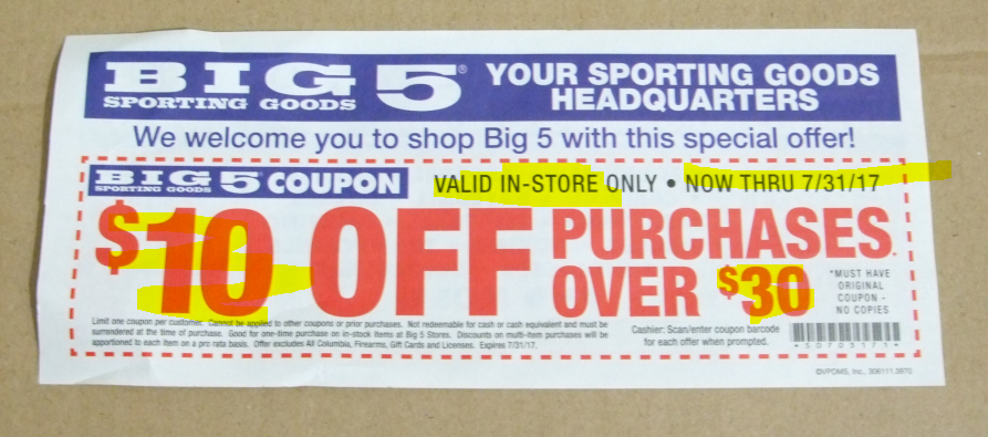 image regarding Big 5 $10 Off $30 Printable titled substantial 5 keep coupon